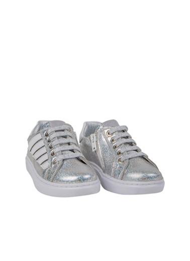 Kids A More Wang Bağcıklı Deri Kız Çocuk Sneaker  Gümüş